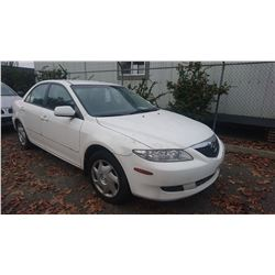 2004 MAZDA 6, WHITE, 4DRSD, GAS, AUTOMATIC, VIN#1YVFP80C445N42638, TMU *NO KEYS, MUST TOW, NOT