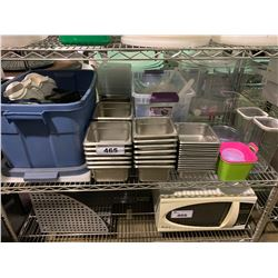 SHELF OF ASSORTED PLASTIC RESTAURANT CONTAINERS, METAL INSERTS & COOKWARE