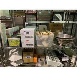SHELF OF ASSORTED GLOVES, DISPENSERS, COOKING SPRAY & COOKWARES