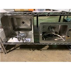 SHELF OF 2 STAINLESS STEEL HAND WASH SINKS