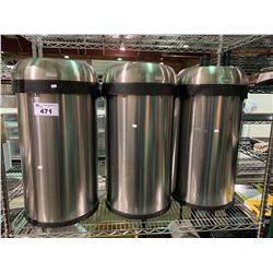 SHELF OF 3 SIMPLEHUMAN STAINLESS STEEL GARBAGE CANS