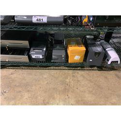 SHELF OF MICROS PRINTERS, POWERVAR APCS, LAMINATOR, THERMAL ROLLS & CASH DRAWERS