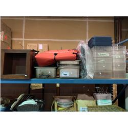 SHELF OF ASSORTED INSERTS, PLASTIC STORAGE BINS WITH LIDS, WOODEN BOX SHELFS & FAN