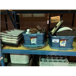 BINS OF ASSORTED DISHWARE & PLASTIC TRAYS
