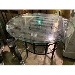 "GLASS 48"" ROUND METAL BASE RESTAURANT TABLE WITH 3 STACKING CHAIRS"