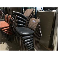 18 METAL FRAME PADDED RESTAURANT STACKING CHAIRS (STYLE 1)