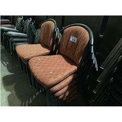 12 METAL FRAME PADDED RESTAURANT STACKING CHAIRS (STYLE 2)