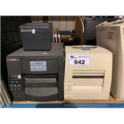 2 CITIZEN LABEL PRINTERS MODEL CLP-7201E, CITIZEN CLP-621 & EPSON MODEL M165A POS PRINTER