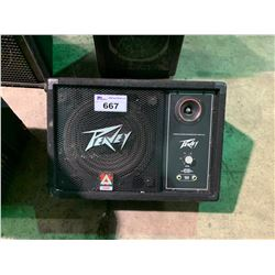 PAIR OF PEAVEY MODEL 112DL PROFESSIONAL LOUD SPEAKERS & PEAVEY 112M FLOOR MONITOR