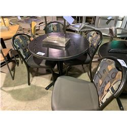 4 METAL FRAMED PATTERNED BACK PADDED STACKING RESTAURANT CHAIRS