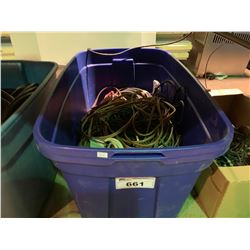 BIN OF ASSORTED STAGE & SPEAKER CABLES