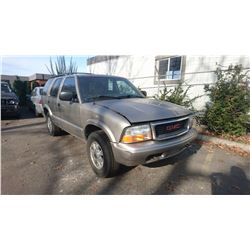 2004 GMC JIMMY, GREY, GAS, AUTOMATIC, VIN#1GKDT13XX4K126517, TMU *NO KEYS, MUST TOW, NOT
