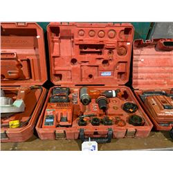 MILWAUKEE CORDLESS KNOCKOUT PUNCH SET WITH 2 BATTERIES, CHARGER AND TOOLING IN CASE
