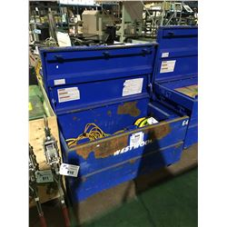 "BLUE 24""X48""X28"" MOBILE JOB SITE STORAGE BOX WITH ELECTRICAL CORDS AND LIGHTING"