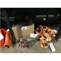 BOX OF ASSORTED SAFETY GEAR, HARNESSES & 2 MILLER SCORPION RETRACTABLE HARNESS