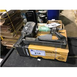 SENCO AIR NAILER & BOX OF FLOORING STAPLES