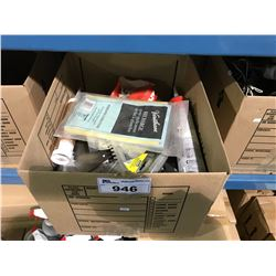 BOX OF ASSORTED WOODWORKING TOOLS & PRODUCT