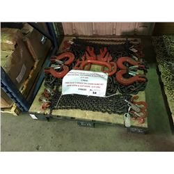 """PALLET OF 19MM ( 3/4"""" ) QUAD LEG CHAIN SLING WITH MASTER RING, SLIP HOOKS, ADJUSTERS, 8' OAL & 9"""