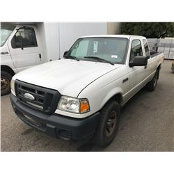 2008 FORD RANGER, WHITE, 2DRPU, GAS, AUTOMATIC, VIN#1FTZR45E28PA00741, 191,793KMS, RD,AC,4W, NO