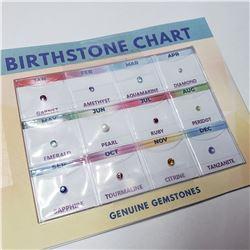 BIRTHSTONE CHART WITH GENUINE GEMSTONES