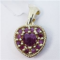 REVERSIBLE HEART SHAPED RUBY AND SAPPHIRE  PENDANT