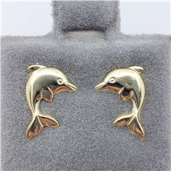 14K  DOLPHIN  LEFT AND RIGHT SCREWBACK (0.5G) EARRINGS