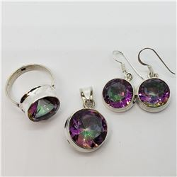 SILVER MYSTIC TOPAZ EARRING, RING AND PENDANT SET