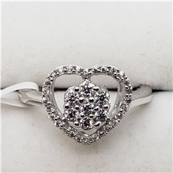 SILVER HEART SHAPED CZ RING