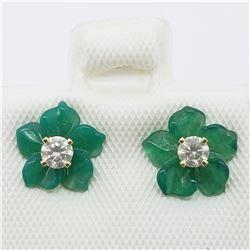 14K  DIAMOND STUD (SI2-I1)(0.2CT) GREEN AGATE FLOWER JACKET EARRINGS