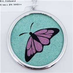 SILVER BUTTERFLY GEMSTONE PAINTING  GLASS PENDANT