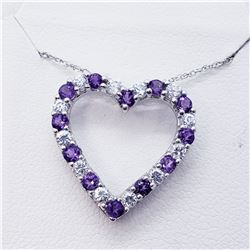 SILVER AMETHYST CZ HEART SHAPED NECKLACE