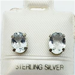 SILVER AQUAMARINE (7X5MM) EARRINGS