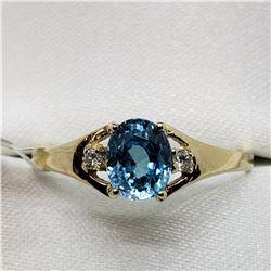 10K  RARE BLUE ZIRCON(1CT) 2 DIAMOND(0.02CT) RING