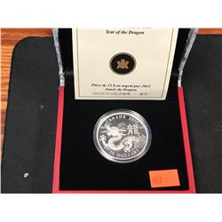 2012 $15 FINE SILVER COIN - YEAR OF THE DRAGON)