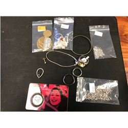 LOT ASSORTED COSTUME JEWELRY, STERLING CHAINS, ETC  (AUTHENTICITY NOT VERIFIED)