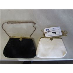 2 SMALL HAND PURSES (BLACK/GOLD FRAME & WHITE/GOLD FRAME) AUTHENTICITY UNKNOWN, BAILIFF SEIZURE