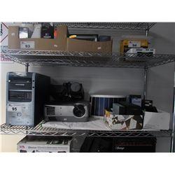 SHELF LOT OF ASSORTED ELECTRONICS (2 PROJECTORS, DESKTOP COMPUTER - HARDDRIVE REMOVED, PORTABLE