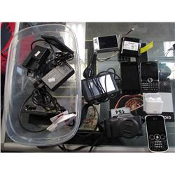 BOX OF DIGITAL CAMERAS, CELLPHONES, SIM CARDS, SSD DRIVES, WIRELESS HEADPHONES, MARSHALL BATTERY,