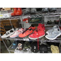SHELF LOT OF ASSORTED MENS SHOES (JORDANS, VLADOS, PRINCE, ADIDAS)