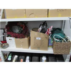 LARGE SHELF LOT OF ASSORTED CHRISTMAS DECORATIONS (LIGHTS, TREE STAND, YARD CANDY CANE DECOR, ETC)
