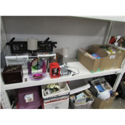 ASSORTED HOUSEHOLD ITEMS (STORAGE DRAWERS, LANTERN, LAMP, KITCHEN ITEMS, CLEANERS & DECOR)