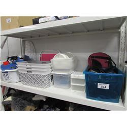 LOT OF LAUNDRY BASKETS, STORAGE BUCKETS, BAGS, IRONING BOARD, FOLDING CHAIR