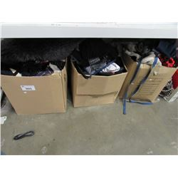 3 BOXES OF ASSORTED CLOTHING & LINEN (JACKETS, SHIRTS, PANTS, AREA RUGS, ETC)
