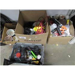 3 BOXES OF TOOLS & MISC (PAINT ROLLERS, CLEANERS, SCRAPERS, SMALL HANDHELD TOOLS, EXTENSION CORDS,