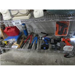 JERRY CAN, BOLT CUTTERS, STAPLER, TAPE MEASURE, SAW, 3 DRILLS, BATTERIES, CHARGER, ETC