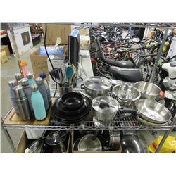COOKING UTENSILS, ASSORTED DISHWARE & WATER BOTTLES