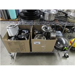 2 BOXES OF ASSORTED DISHWARE (POTS, PANS, TOASTER, LIDS) & T-FAL ACTIFRY EXPRESS XL (SEIZED