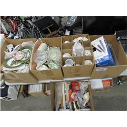 5 BOXES OF ASSORTED DISHWARE & COLLECTIBLE PLATES (ESTATE GOODS)