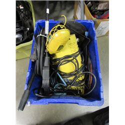 SAW BLADE, PRESSURE WASHER, TROUBLE LAMP, EXTENSION CORDS, ETC