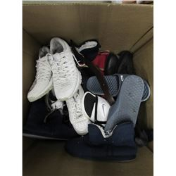 BOX OF ASSORTED SHOES, BELTS, ETC